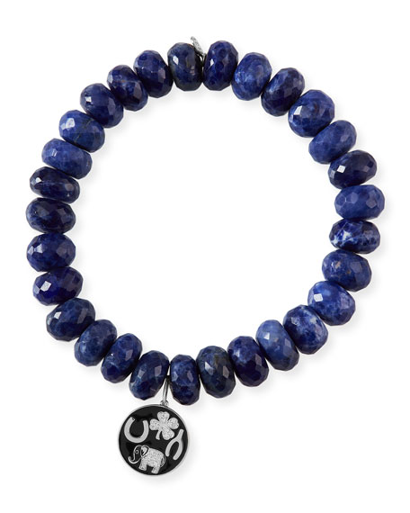 Sydney Evan 14k Luck Tableau Medallion & Sodalite Bracelet