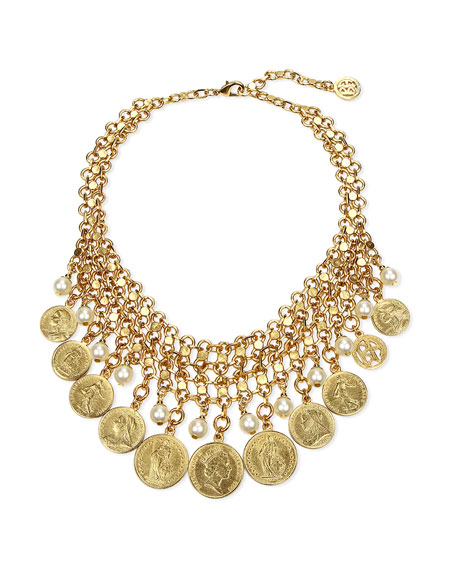 Ben-Amun Coin & Pearly Bib Necklace