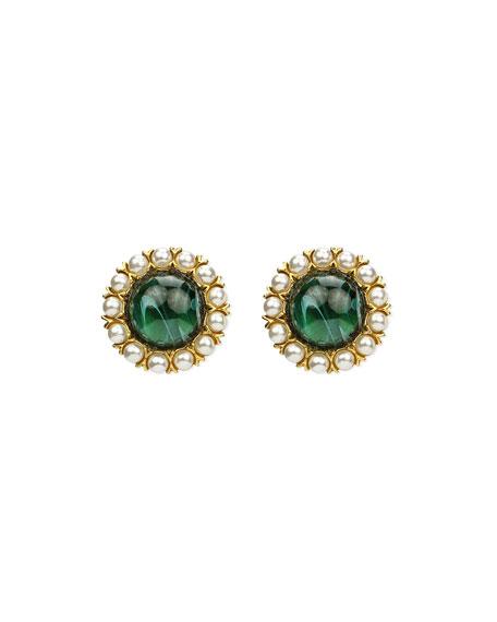 Ben-Amun Cabochon Clip & Pearly Trim Earrings
