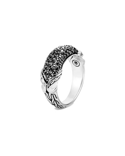 Asli Classic Chain Black Spinel Pave Ring, Size 7