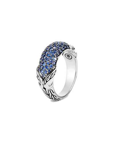 Asli Classic Chain Blue Sapphire Pave Ring, Size 7