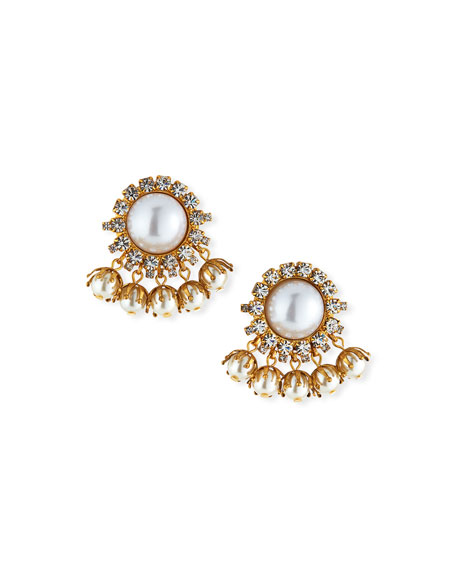 Elizabeth Cole Jacey Crystal & Pearly Earrings