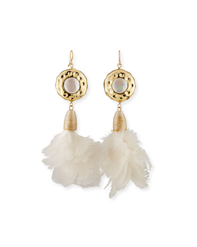 Pearl & Fabric Feather Drop Earrings
