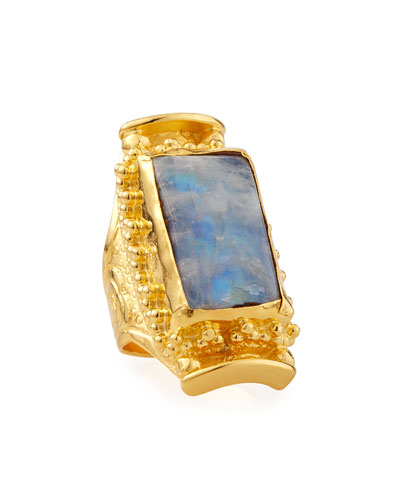 Rectangular Moonstone Ring, Adjustable