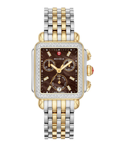 Deco 18 Two-Tone Stainless-Steel Diamond Watch with Chocolate Dial