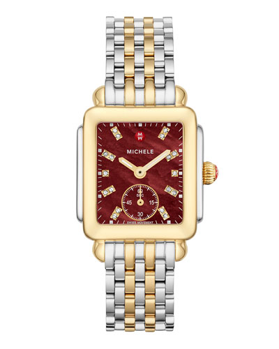 Deco Mid Two-Tone Stainless Steel Cabernet Diamond Dial Watch