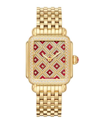 Deco 18 Chateau Gold Mosaic Diamond Watch