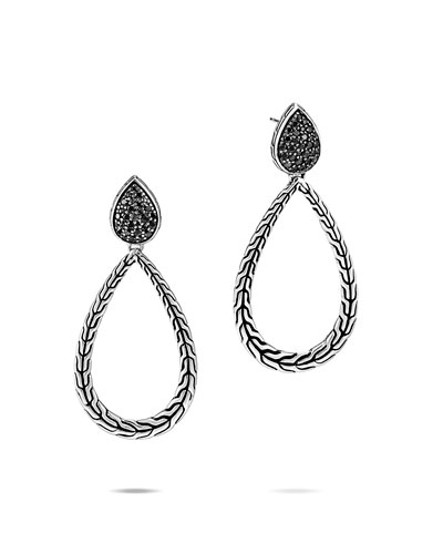 Classic Chain Black Spinel Pear-Drop Earrings