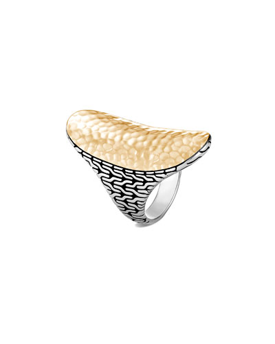 Classic Chain Hammered 18k Gold Saddle Ring, Size 7
