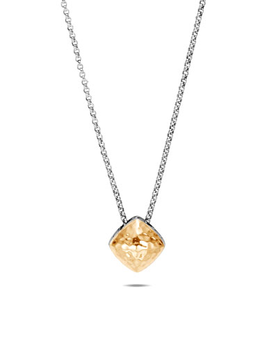 Classic Chain Hammered 18k Gold Pendant Necklace, 15mm