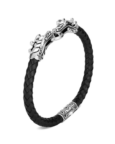 Legends Naga Double-Dragon Leather Bracelet, Size M