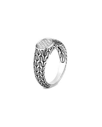 Classic Chain Diamond Signet Ring, Size 4-6