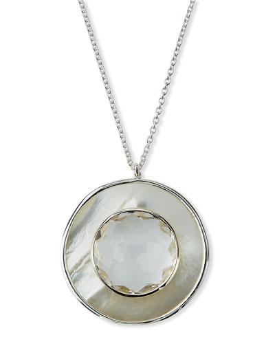 Ondine Large Circle Pendant Necklace, Quartz/Mother-of-Pearl