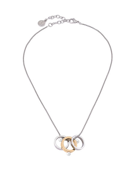 Majorica 3-Ring Pearly Pendant Necklace