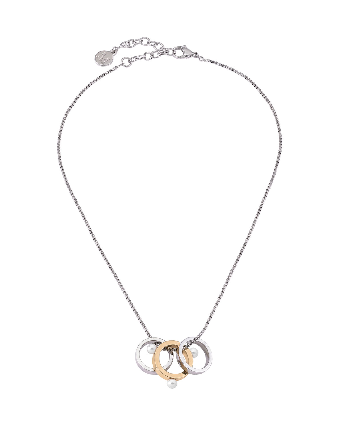 3-Ring Pearly Pendant Necklace
