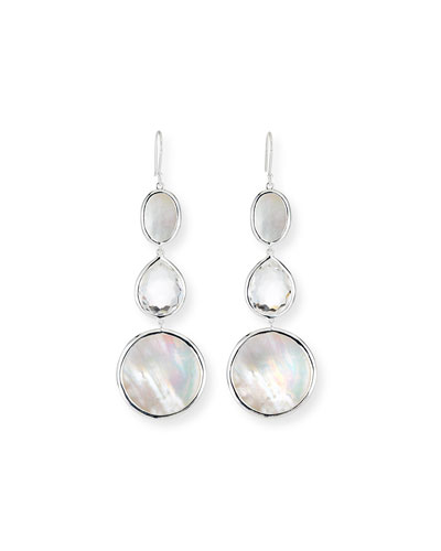 Polished Rock Candy 3-Drop Earrings, White