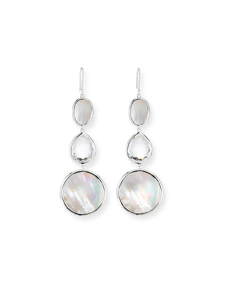 Ippolita Polished Rock Candy 3-Drop Earrings, White
