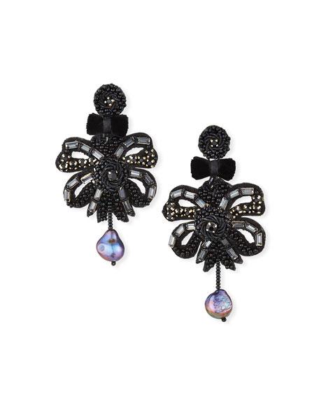 Ranjana Khan Clip-On Bow Dangle Earrings with Pearl