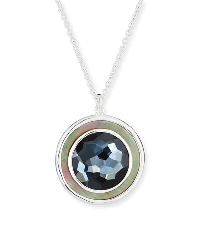 Polished Rock Candy Medium Circle Pendant Necklace in Hematite Doublet
