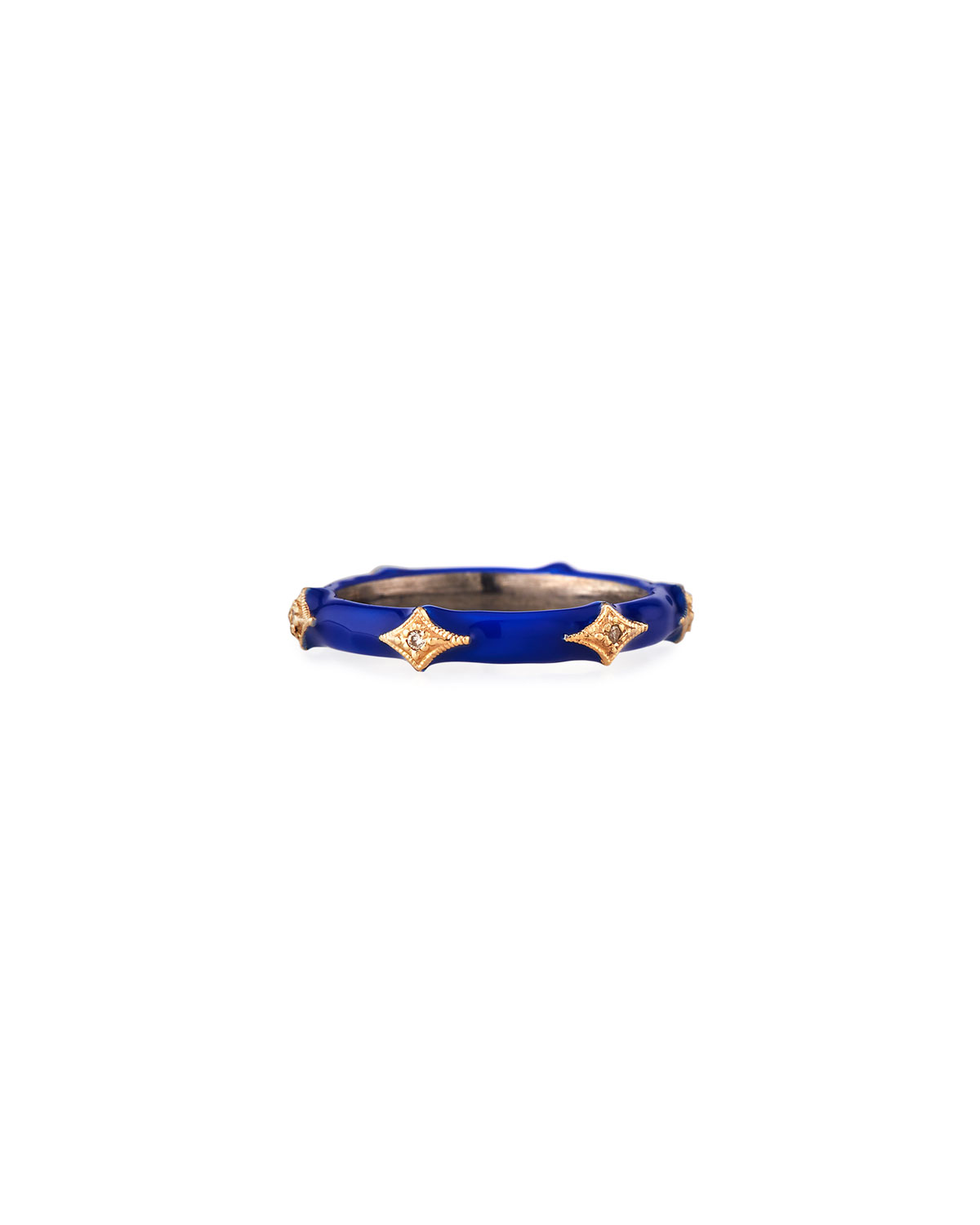 Armenta ring from the Old World Collection. 14-karat rose gold and royal blue enamel. Crivelli stations with white diamonds. 0.02 total diamond carat weight.