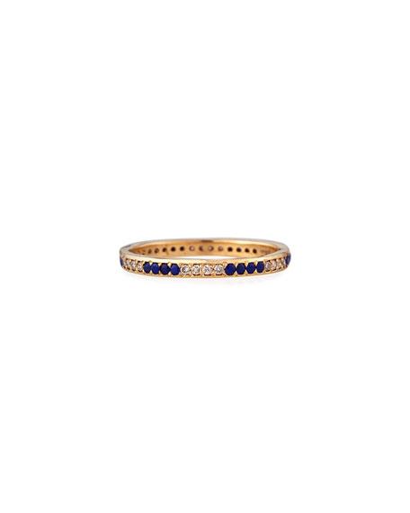 Armenta 18k Rose Gold Lapis & Champagne Diamond Stack Ring, Size 6.5