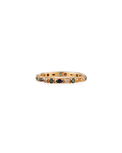 18k Rose Gold Sapphire, Marquise & Diamond Ring, Size 6.5