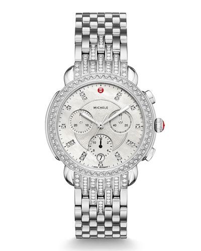 38mm Sidney Steel Diamond Chronograph Bracelet Watch
