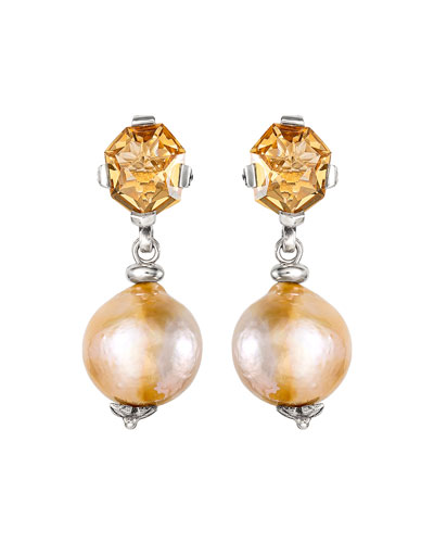 Champagne Quartz Baroque Pearl Drop Earrings