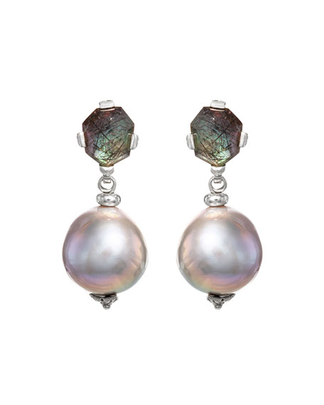 Stephen Dweck Black Rutilated Quartz Baroque Pearl Drop Earrings