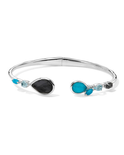 Rock Candy Double Mixed Stone Stations Hinged Bracelet