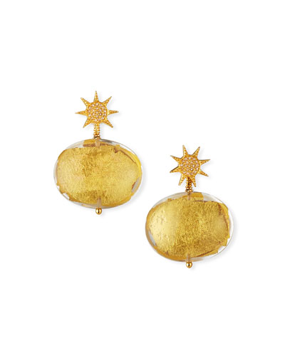 Diamond Sun & Foil-Drop Earrings