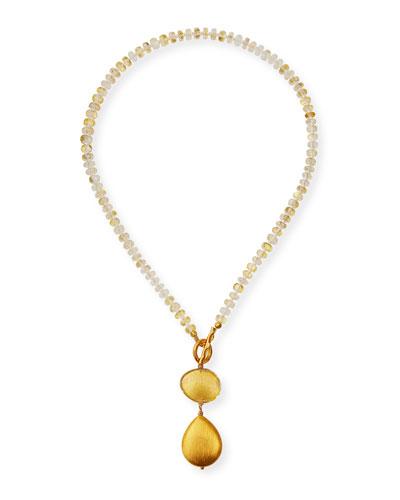Foil Quartz Double-Pendant Necklace