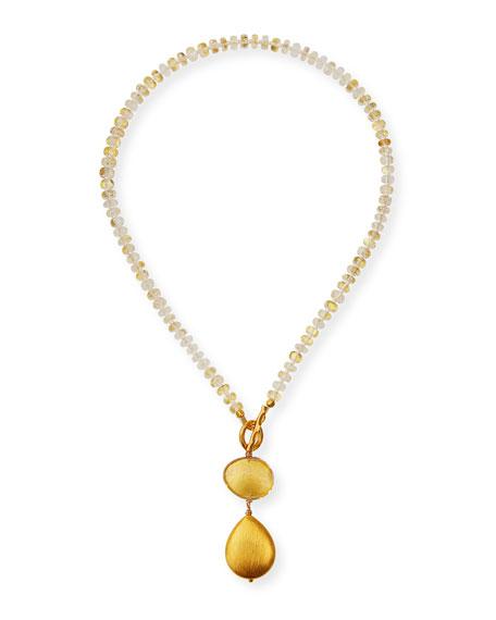 Dina Mackney Foil Quartz Double-Pendant Necklace