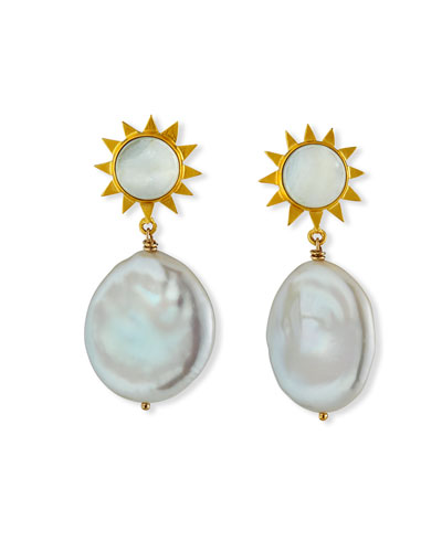 Mother-of-Pearl & Coin Pearl Sun Earrings