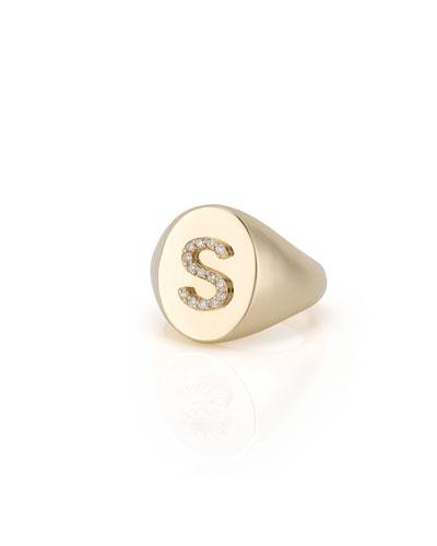 Kari 14k Signet Diamond Initial Ring, Size 3-10