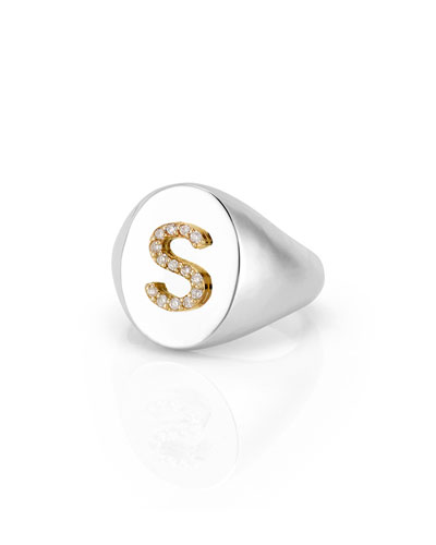 Personalized Kari Signet Diamond Initial Ring