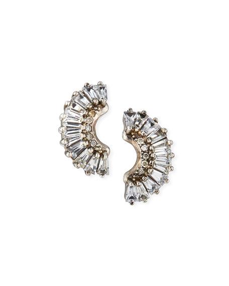 Armenta Old World Half-Moon Sapphire Earrings w/ Diamonds