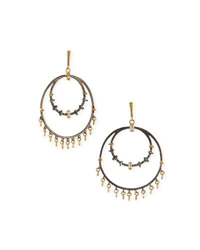 Old World 2-Circle Diamond Crivelli Sapphire Earrings