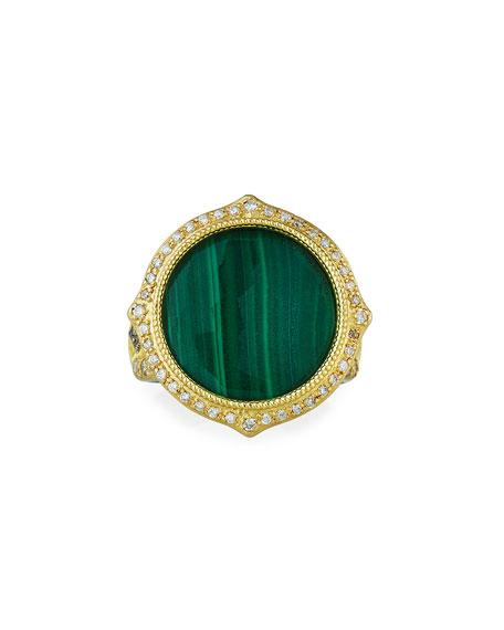 Armenta Old World Malachite/Sky Blue Topaz Doublet Diamond-Pave Ring, Size 6.5-7