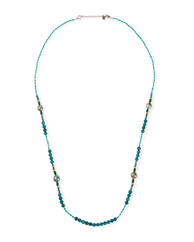Old World Pearl Mixed-Bead Long Necklace, 36