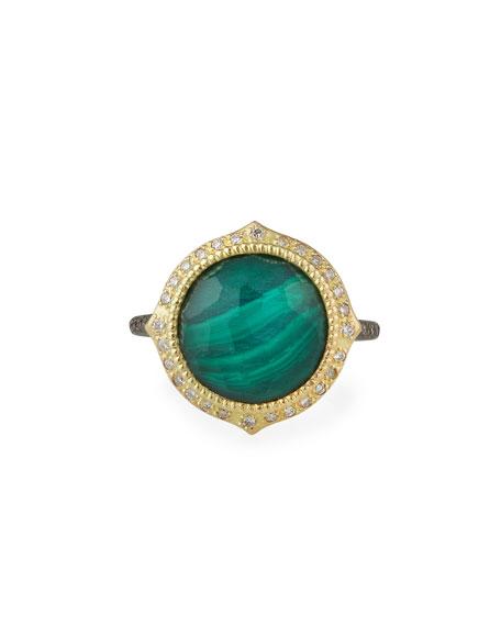 Armenta Old World Malachite/Topaz Doublet Ring w/ 18k Gold & Diamonds, Size 6.5