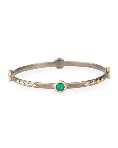 Old World Malachite/Topaz Doublet Bracelet w/ 18k Gold & Diamonds
