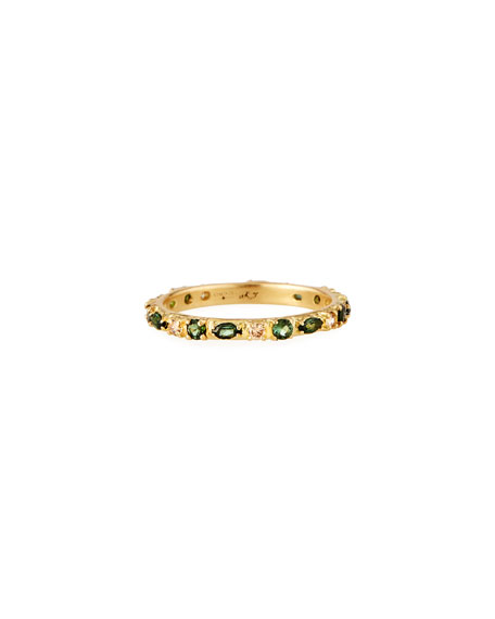 Armenta Old World 18k Sapphire, Tourmaline & Diamond Stack Ring, Size 6.5