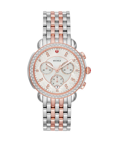38mm Sidney Diamond Chronograph Two-Tone Pink Gold Watch