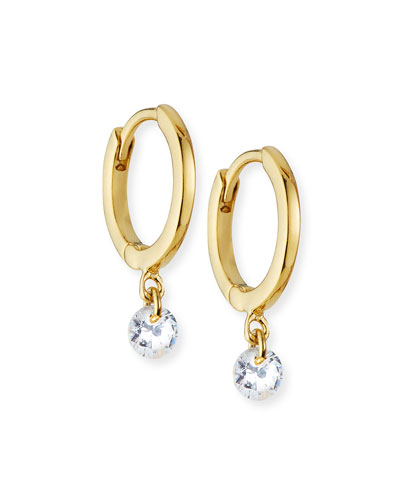 Cubic Zirconia Drop Huggie Earrings