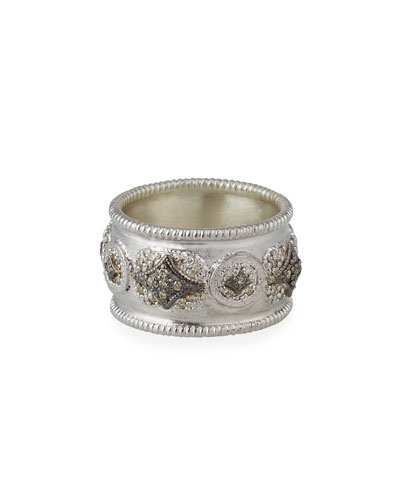 New World Diamond Crivelli Wide Band Ring, Size 6.5 & 7
