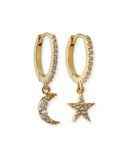 Mismatch Star Moon Huggie Hoop Earrings