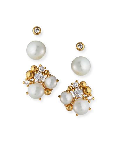 Pearl & Cubic Zirconia Stud Earrings, Set of 3