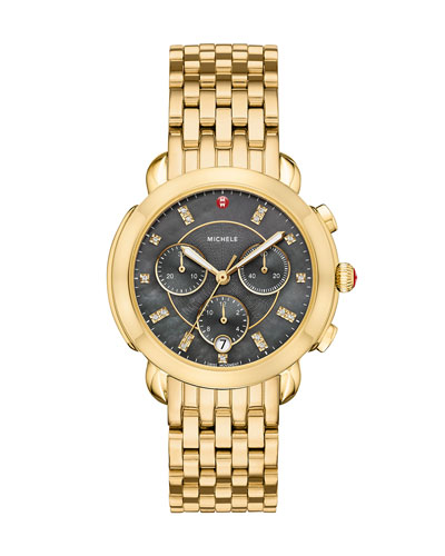 38mm Sidney Diamond-Dial Chronograph Watch, Gold/Gray