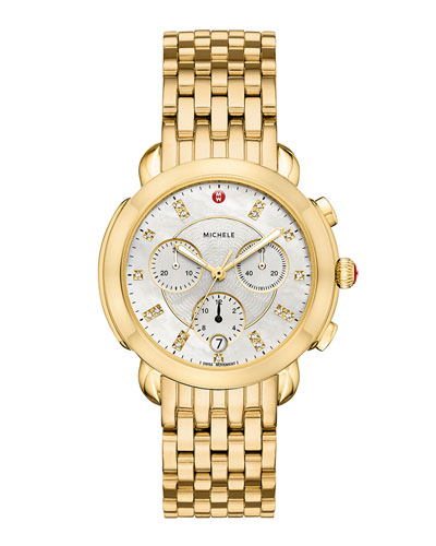 38mm Sidney Diamond-Dial Chronograph Watch, Gold